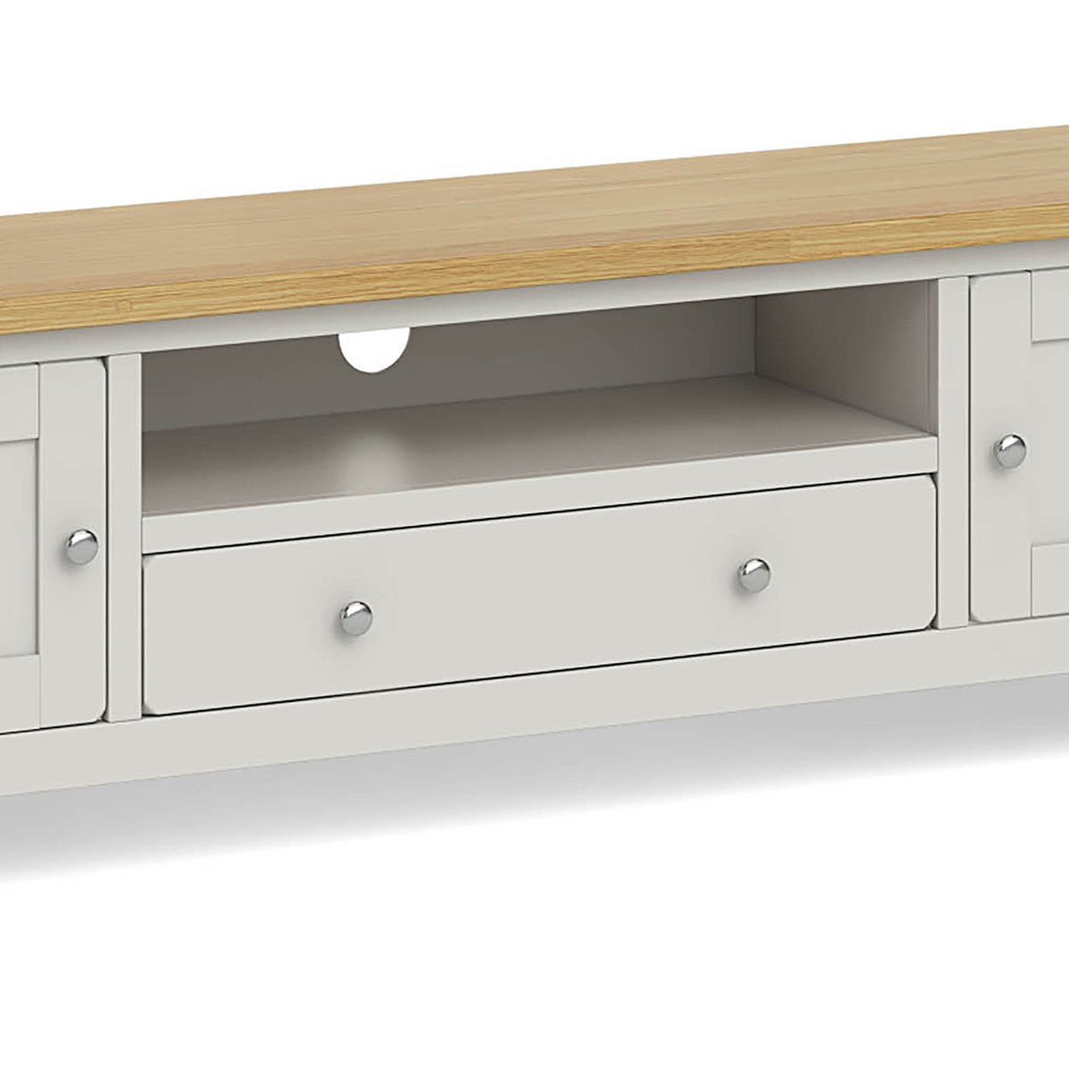 Lundy Grey Extra Large TV Stand - Close Up of Drawer