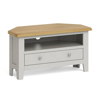 Lundy Grey Corner TV Stand by Roseland Furniture