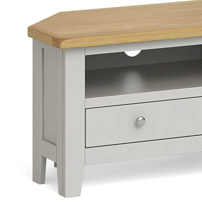 Lundy Grey Corner TV Stand - Close Up of Side of Unit