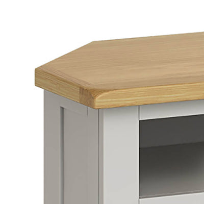Lundy Grey Corner TV Stand - Close Up of  Oak Top