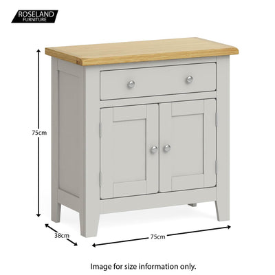 Lundy Grey Mini Sideboard - Size guide