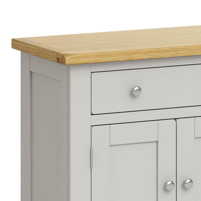 Lundy Grey Mini Sideboard - Close Up of Top