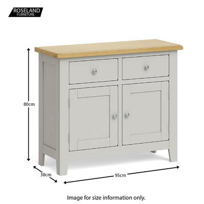 Lundy Grey Small 2 Door Sideboard - Size guide
