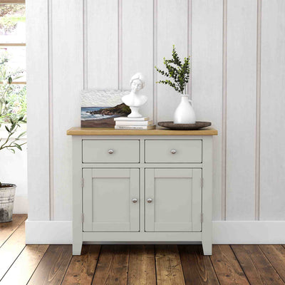 Lundy Grey Small 2 Door Sideboard - Lifestyle view