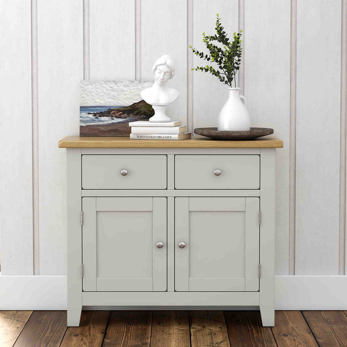 Lundy Grey Small 2 Door Sideboard - Lifestyle