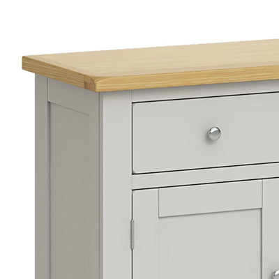Lundy Grey Small 2 Door Sideboard - Close Up of Drawer
