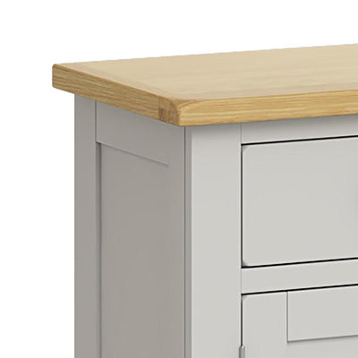 Lundy Grey Small 2 Door Sideboard - Close Up of Top Corner
