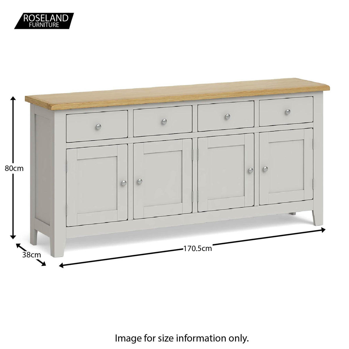 Lundy Grey Extra Large Sideboard Unit - Size guide