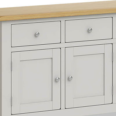 Lundy Grey Extra Large Sideboard Unit - Close up of Cupboard Drawers