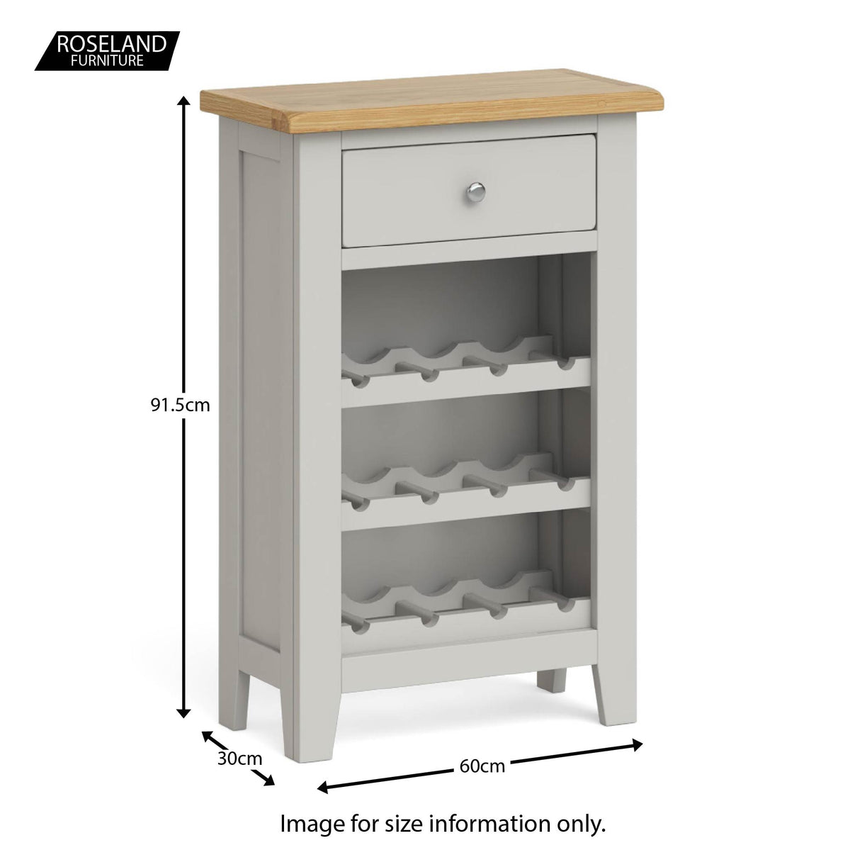 Lundy Grey Wine Rack Cabinet - Size guide
