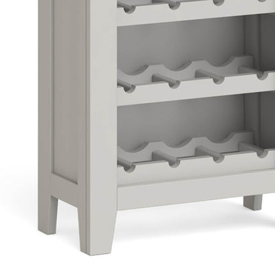 Lundy Grey Wine Rack Cabinet - Close Up of Bottle Holders