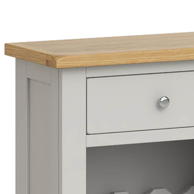 Lundy Grey Wine Rack Cabinet - Close Up of Drawer