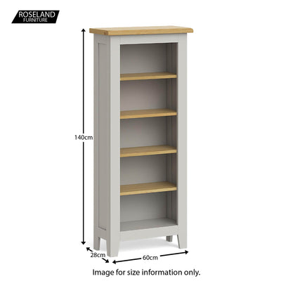 Lundy Grey Narrow Bookcase - Size guide