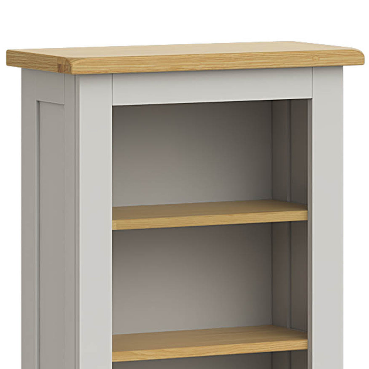 Lundy Grey Narrow Bookcase - Close Up of Top