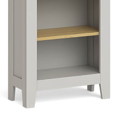 Lundy Grey Narrow Bookcase - Close Up of Base