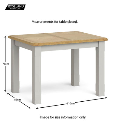Lundy Grey Compact Extending Dining Table - Closed size guide