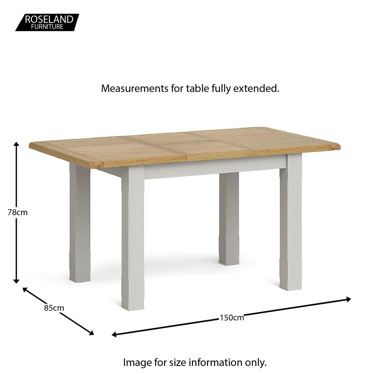 Lundy Grey Compact Extending Dining Table - Extended size guide