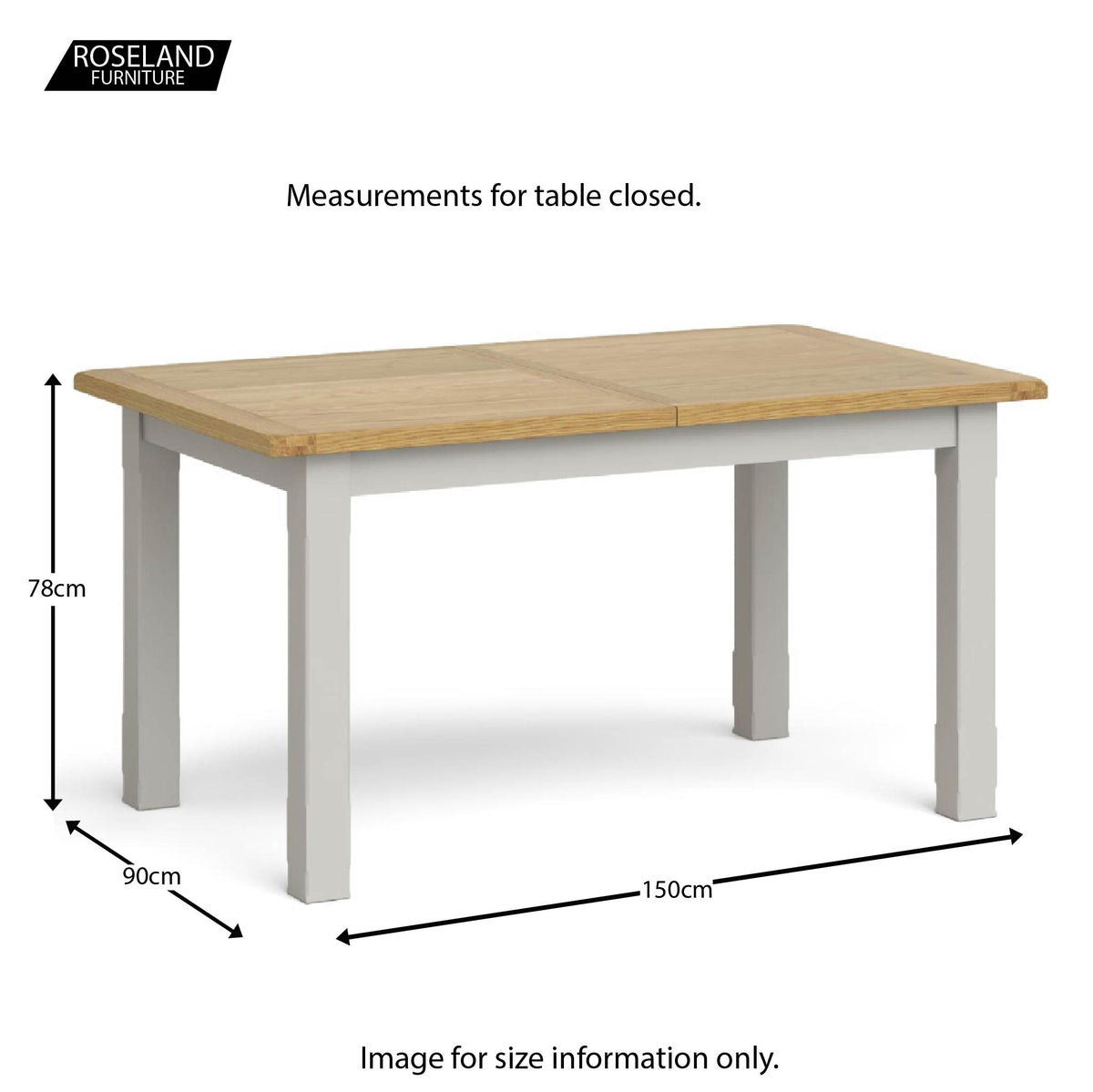 Lundy Grey Small Extending Oak Topped Dining Table - Closed size guide