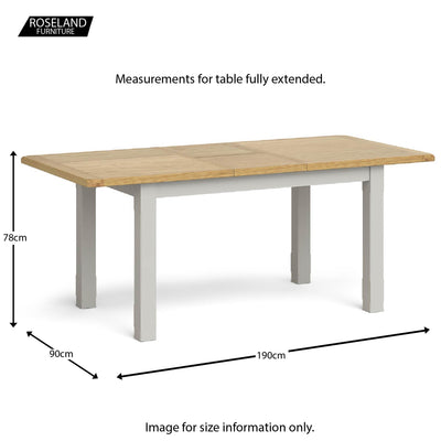 Dimensions - Lundy Grey Small Extending Dining Table extended