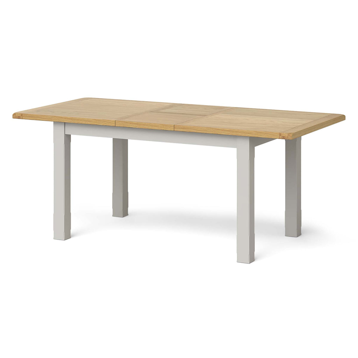 Lundy Grey Small Extending Oak Topped Dining Table - Fully Extended