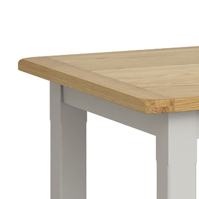 Lundy Grey Small Extending Oak Topped Dining Table - Close Up of Oak Table Top