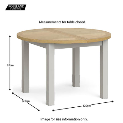 Lundy Grey Round Extending Dining Table - Closed size guide