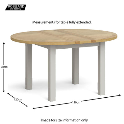 Lundy Grey Round Extending Dining Table - Extended size guide