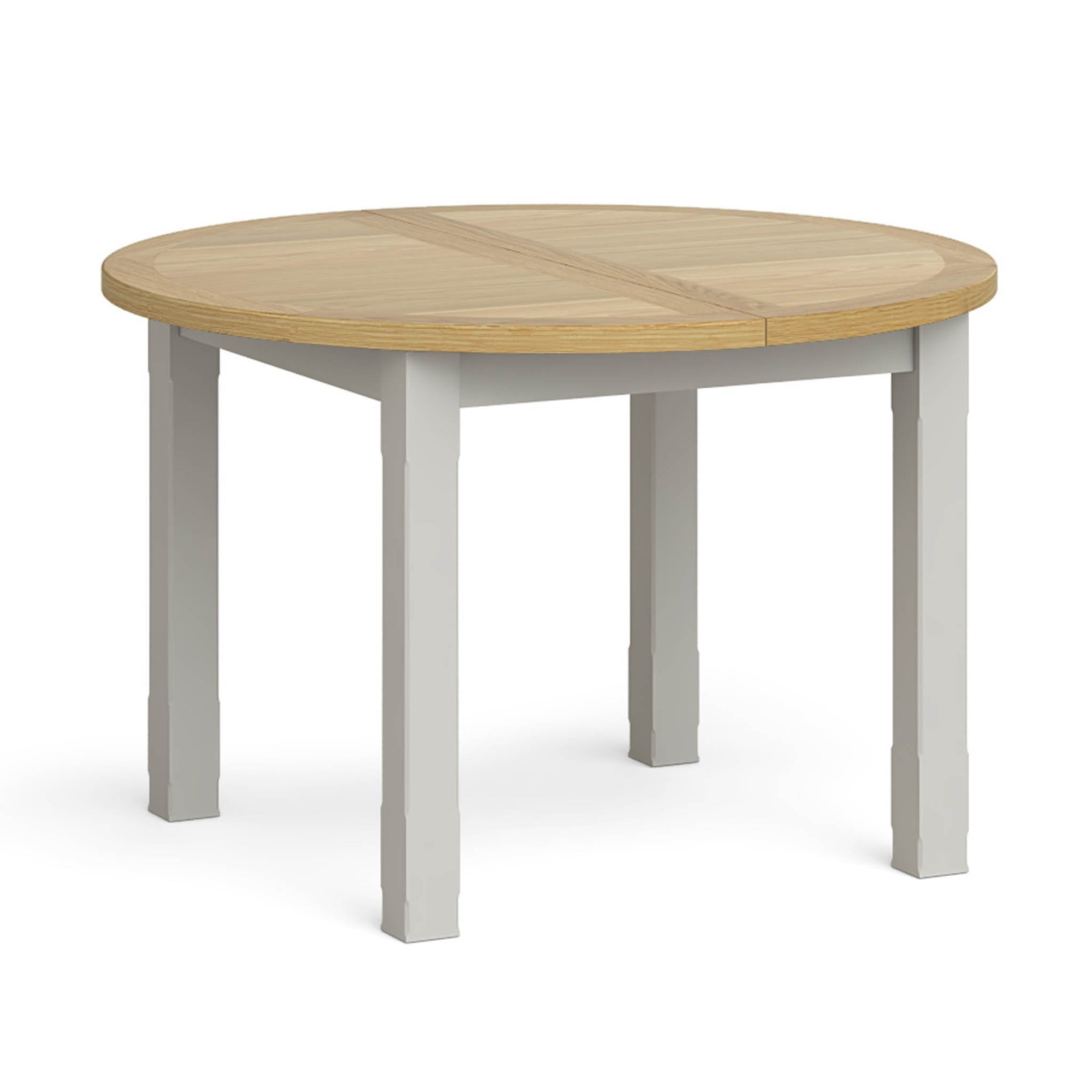 Lundy Grey Round Oak Extending Dining Table Roseland Furniture