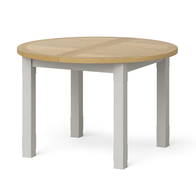 Lundy Grey Round Extending Dining Table by Roseland Furniture
