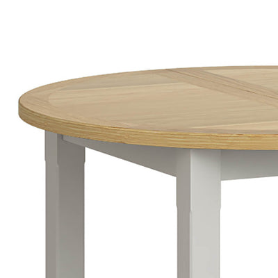 Lundy Grey Round Extending Dining Table - Close Up of Oak Table Top