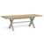 Lundy Grey Cross legged Extending Dining Table with Oak Top - Extended view
