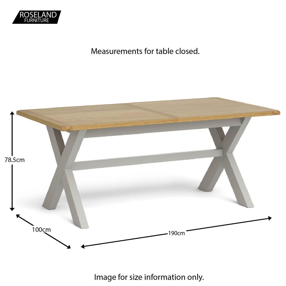 Lundy Grey Extending Dining Table - Closed Size guide