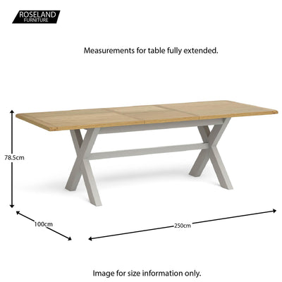 Lundy Grey Extending Dining Table - Extended Size guide