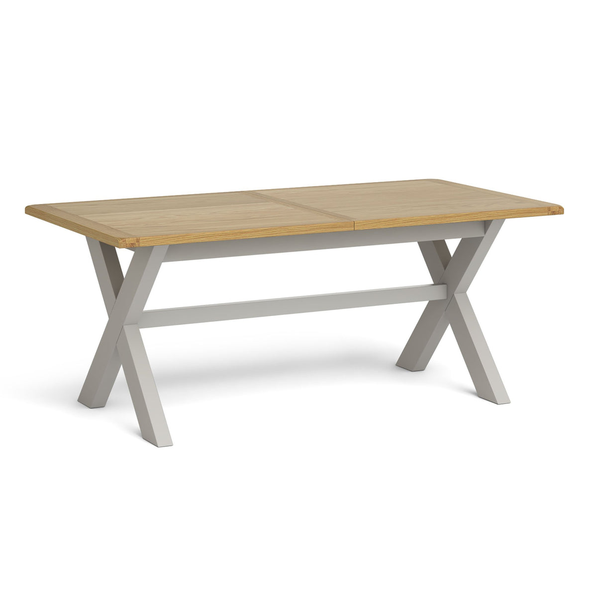 Lundy Grey Cross legged Extending Dining Table with Oak Top by Roseland Furniture