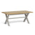 Lundy Grey Cross legged Extending Dining Table with Oak Top - Closed view