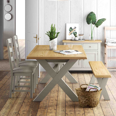 Lundy Grey Extending Dining Table -  Closed Table Lifestyle view