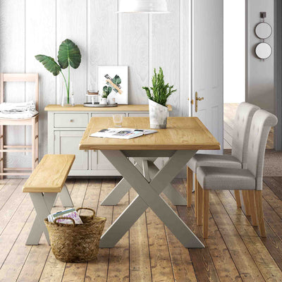 Lundy Grey Cross legged Extending Dining Table - Lifestyle