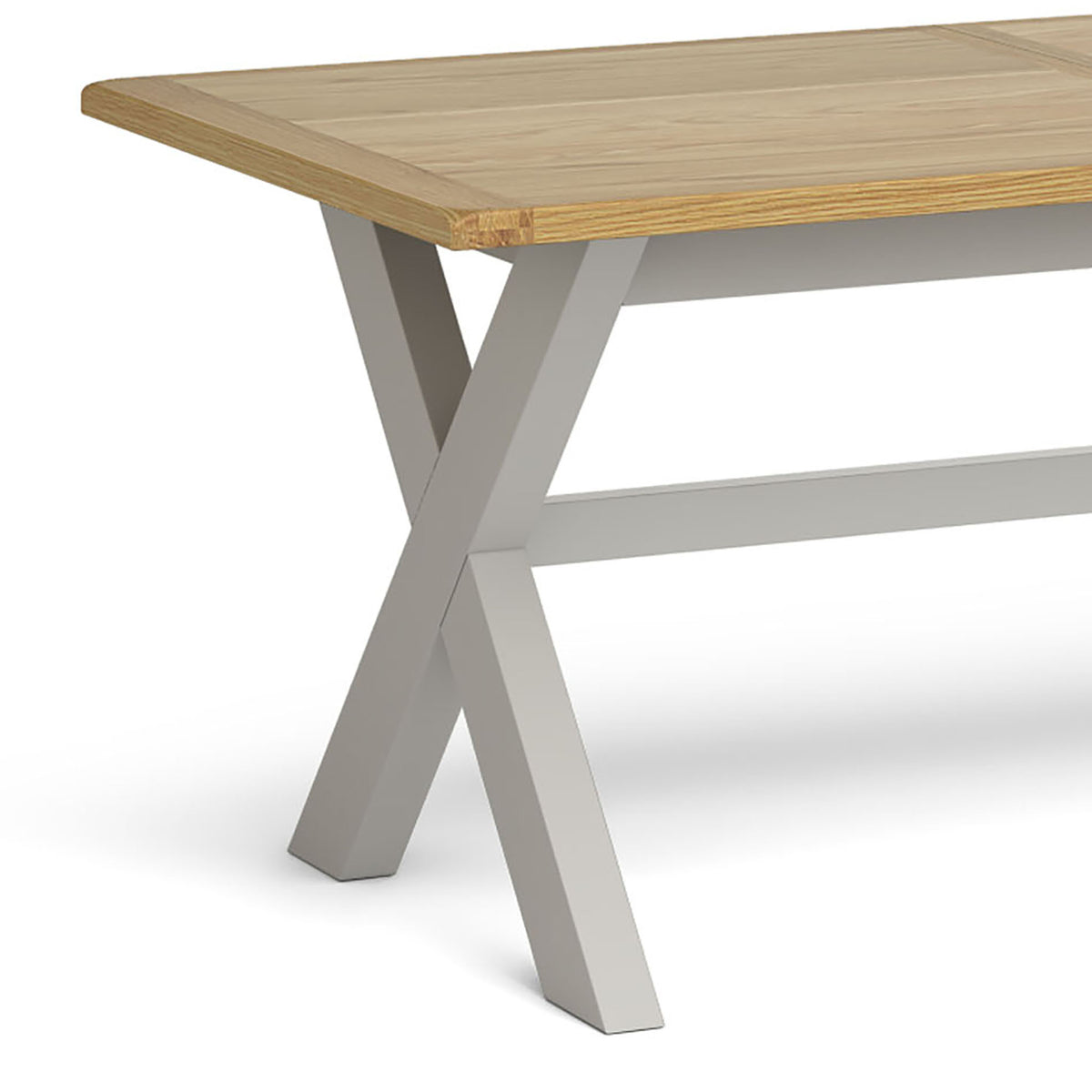 Lundy Grey Cross legged Extending Dining Table - Close Up of  Oak Table Top