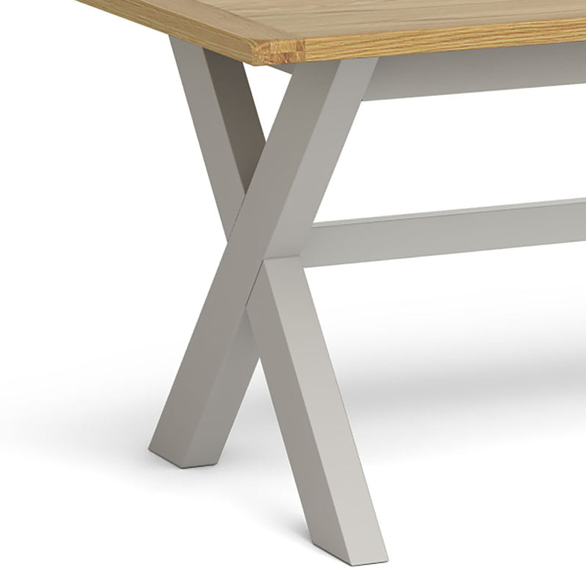 Lundy Grey Cross legged Extending Dining Table - Close Up of Cross Section Legs