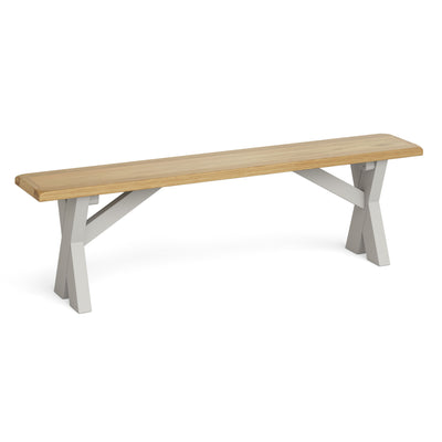 Lundy Grey Crossed Based Oak Topped Bench by Roseland Furniture