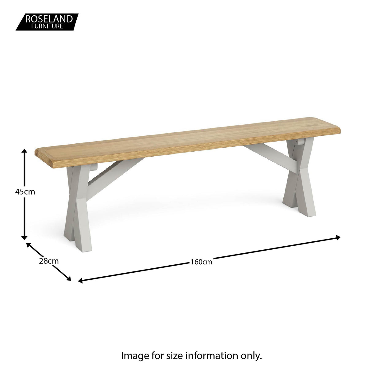 Lundy Grey Crossed Based Oak Topped Bench - Size guide