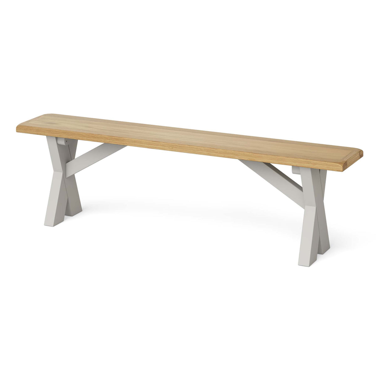 Lundy Grey Crossed Based Oak Topped Bench - Side view