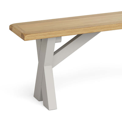 Lundy Grey Crossed Leg Dining Bench - Close Up of Cross Section