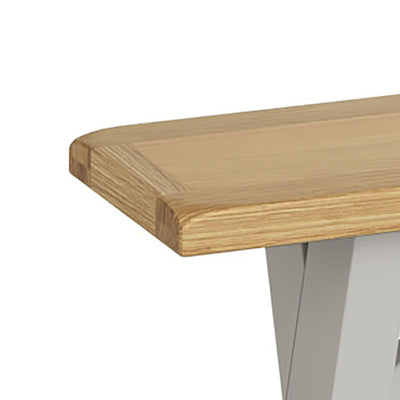 Lundy Grey Crossed Leg Dining Bench - Close Up of Oak Top