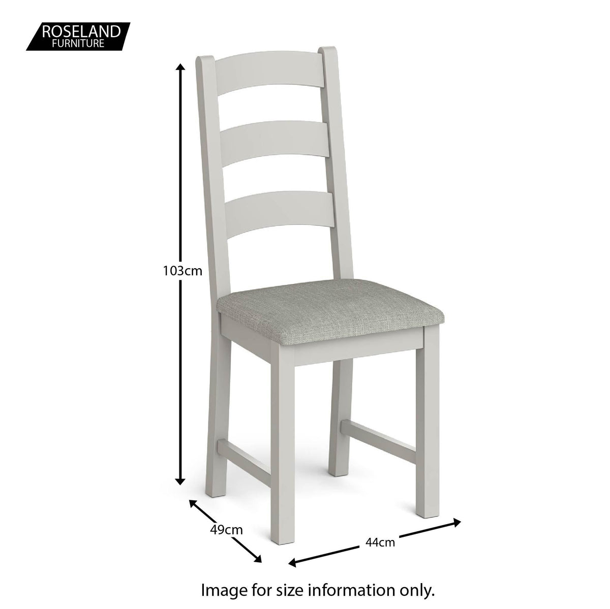 Lundy Grey Ladder Back Dining Chair - Size guide