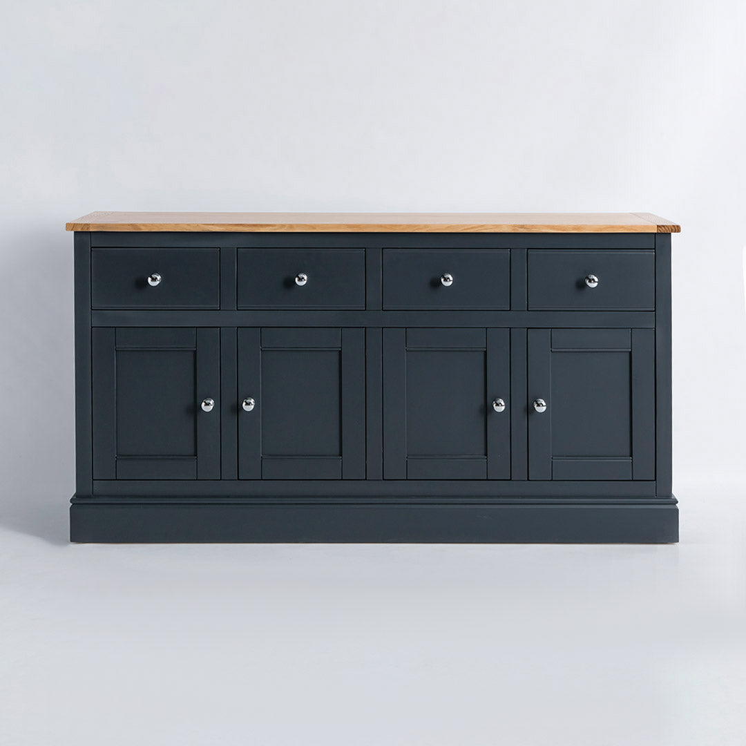 Front view of the Chichester Charcoal Black 4 Door Sideboard