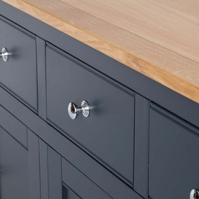 Close up of the black drawer on the Chichester Charcoal Extra Large Sideboard