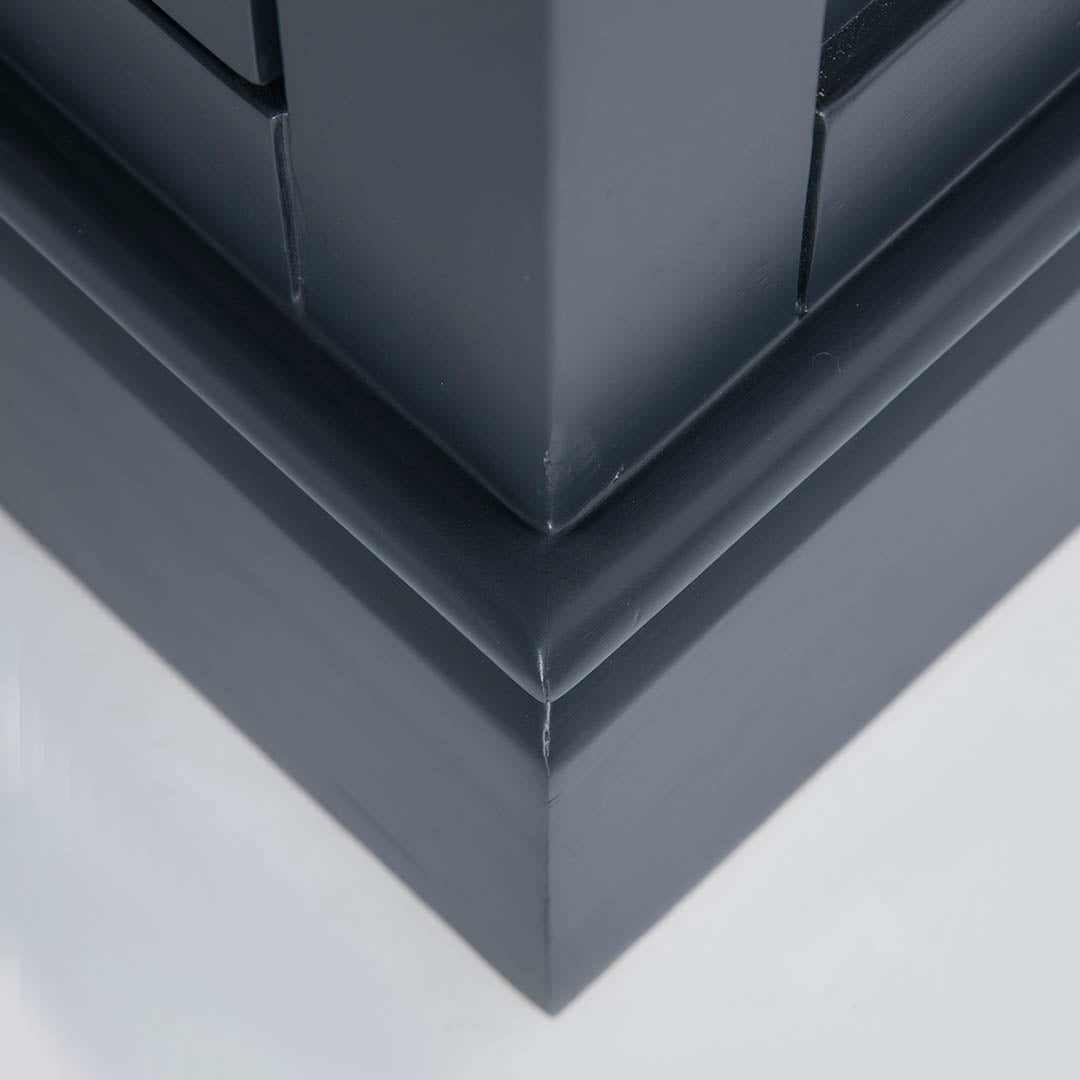 Close up of the black plinth base on the Chichester Charcoal Extra Large Sideboard