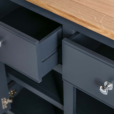 Close up of the black drawer joints on the Chichester Charcoal Extra Large Sideboard
