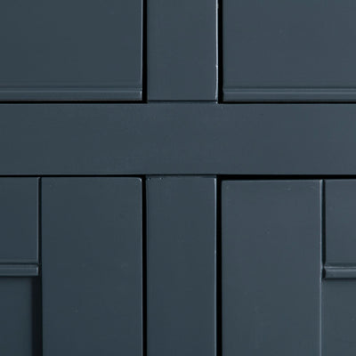 Close up of the black painted wooden frame on the Chichester Charcoal Extra Large Sideboard